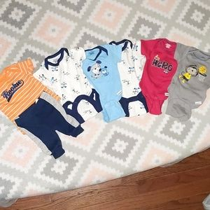 Five Little Boys Onesies and One Shirt and Pants